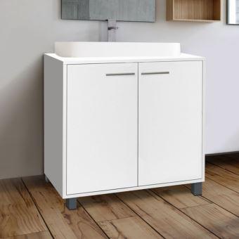 Meuble sous lavabo blanc pour vasque de salle de bain - Meuble sous vasque de salle de bain ...