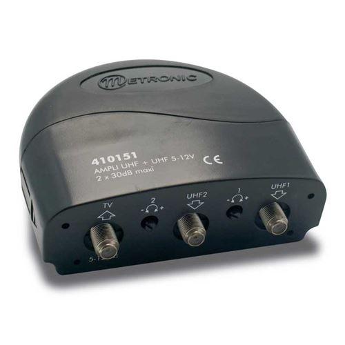 Metronic Amplificateur coupleur 2 entrées UHF 30 dB 410151