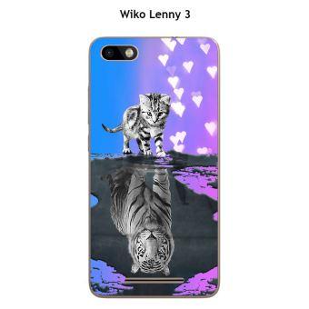 Coque Wiko Lenny 3 - Jerry design Chat Tigre Blanc fond bleu rose