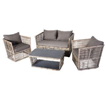 Salon de jardin de 4 pièces en aluminium / résine tressé coloris ...