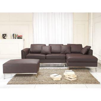 330€ sur Canapé d\'angle G - canapé avec pouf en cuir brun - sofa ...
