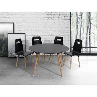 56€60 sur Table de salle à manger - table de cuisine - noir - 120 cm ...