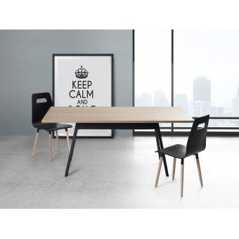 Table de salle à manger - table de cuisine - noir - 180 cm - Flow ...