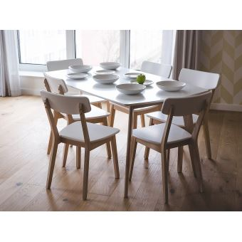 Table De Cuisine Table De Salle A Manger 150x90 Cm Blanc Santos