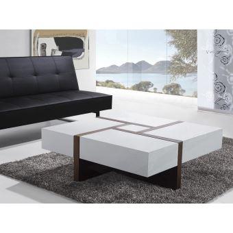 Table Basse Table De Salon 100x100 Cm Blanc Evora Achat