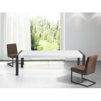 Table De Salle A Manger Table Blanche Pieds Noirs 220 Cm Arctic I