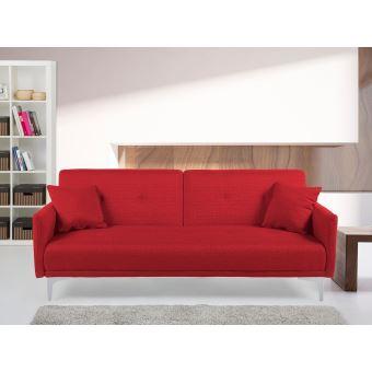 bas prix 341ff 09715 Canapé convertible - canapé-lit en tissu rouge - Lucan