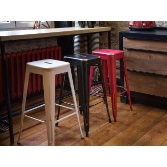 Tabouret De Bar Chaise De Bar Design 60 Cm Blanc Doré