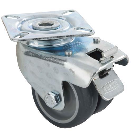 Roulette double 5cm platine à visser avec frein