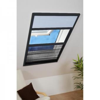 Moustiquaire Et Pare Soleil Plissé Fenêtre De Toit Alu Gris L080 X