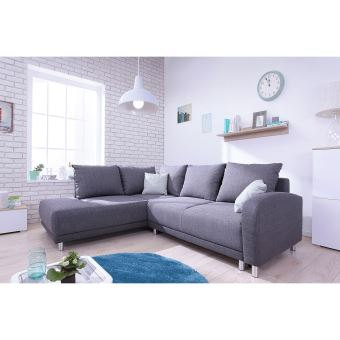 Minty Grand Angle Gauche - Canapé Convertible Scandinave Bobochic Gris  Anthracite