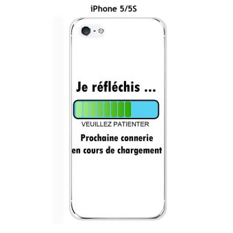 Coque Apple iphone 5 5S 5SE design Meage Je reflechis Texte noir