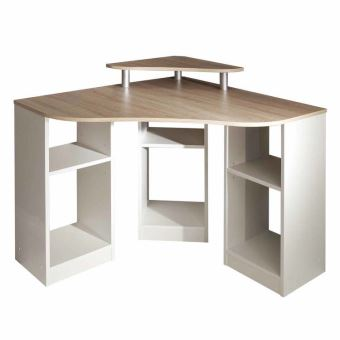 Bureau informatique d\'angle en bois Longueur 94cm HADES - Blanc ...