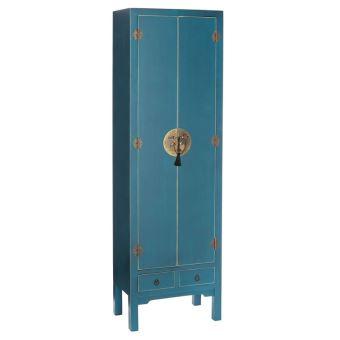 armoire lingre 2 portes 2 tiroirs bleue meuble chinois pekin achat prix fnac