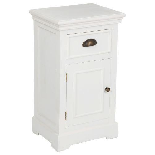 Table De Chevet 1 Tiroir Et 1 Porte Conall L 30 Cm Blanc