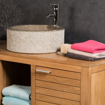 Vasque salle de bain en marbre ELBE gris taupe 40cm - Installations ...