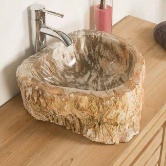 Lavabo de salle de bain en bois pétrifié fossilisé beige ...