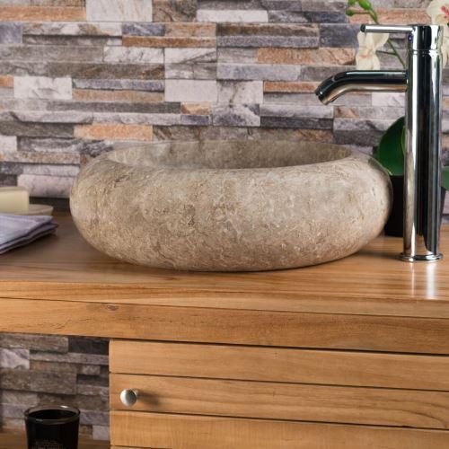 Vasque salle de bain à poser VENISE gris taupe 40cm ...