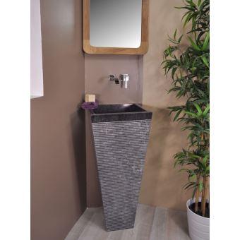Vasque salle de bain sur pied en pierre carré GUIZEH noir ...
