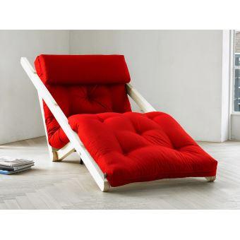 fauteuil chaise longue en bois avec matelas futon figo 70 rouge achat prix fnac - Fauteuil Chaise Longue