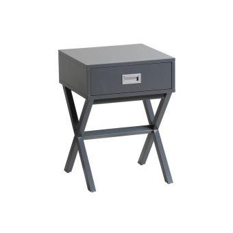 Table de chevet en bois laqué avec tiroir + poignée