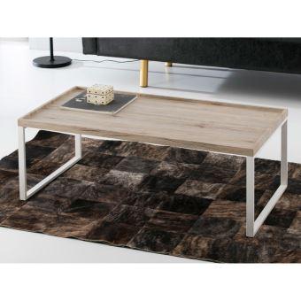 économiser dac43 3e9d9 Table basse plateau en bois décor chêne vieilli et pieds en métal L110cm  VENICE