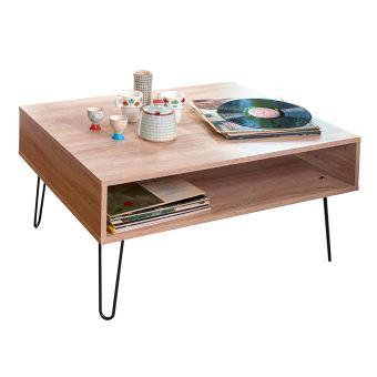f4519befd50958 Table basse en bois avec range revues et pieds métal L89 cm AERO - Chêne -  Achat   prix   fnac