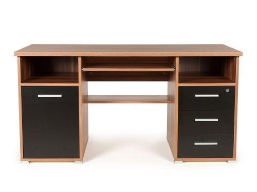 Bureau informatique avec caisson tiroirs niches en bois l xh cm