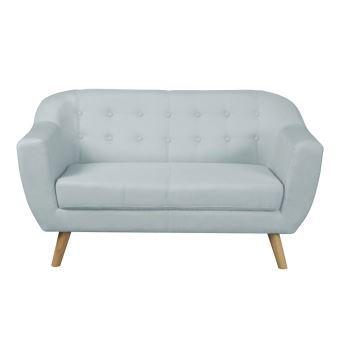 Canapé scandinave avec pieds bois naturel en tissu TACK - Bleu ...