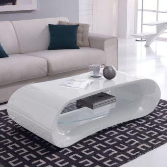 Table Basse Design En Verre Longueur 130cm Hayle Blanc Achat