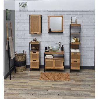 Colonne de salle de bain - en BAMBOU - NOIR et BOIS - Achat & prix ...