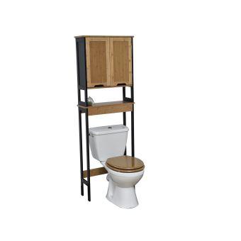 Meuble dessus toilettes WC - en BAMBOU - NOIR et BOIS - Achat & prix | fnac