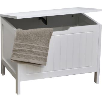 malle de rangement coffre linge en bois style moderne blanc achat prix fnac. Black Bedroom Furniture Sets. Home Design Ideas