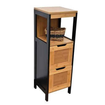 meuble bas de salle de bain en bambou noir et bois achat prix fnac