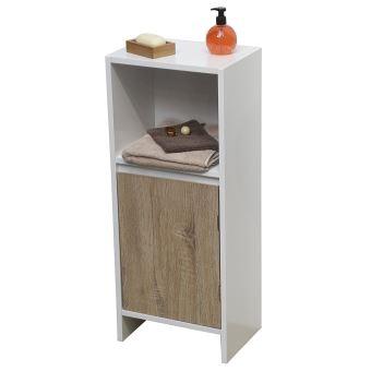 colonne meuble bas de salle de bain 1 porte et 1 niche scandinave achat prix fnac