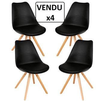 Lot de 4 chaises confortables Style scandinave NOIR