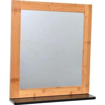 Miroir et Tablette de salle de bain - EN BAMBOU - NOIR et ...
