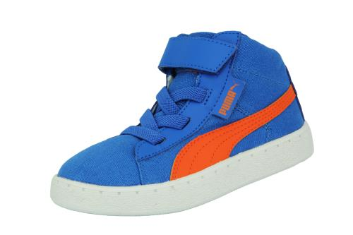 Puma kds puma 48 mid cv <strong>chaussures</strong> sneakers mode enfant bebe toile canvas bleu orange