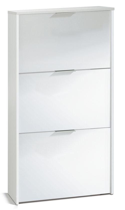 Commode à chaussures en bois de 3 portes coloris blanc brillant - Dim : 113 x 60 x 22 cm -PEGANE-