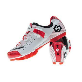 Baskets de cyclisme avec paire de pédales et cales - Blanc et Rouge W27lctUjB