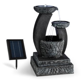 Blumfeldt Fontaine Fantaghiro Fontaine décorative de jardin avec jet d\'eau  à 3 étaGes : 250l/h - Panneau solaire 3w - Eclairage LED - Imitation ...