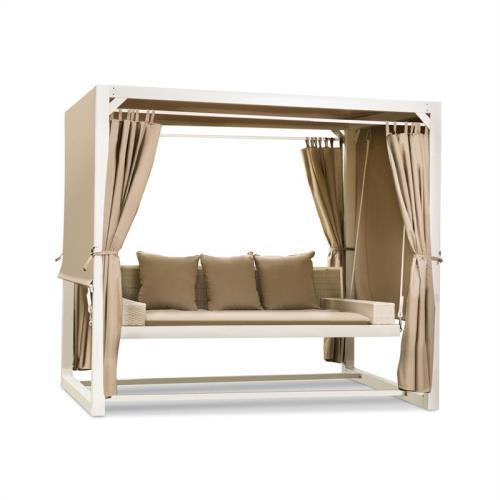 Blumfeldt Eremitage Balancelle de jardin luxe avec auvent , rideaux et 3 coussins - 236 x 180 x 210cm - blanc & taupe