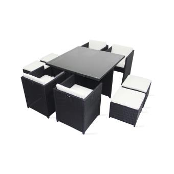 salon de jardin 8 places encastrable en r sine achat. Black Bedroom Furniture Sets. Home Design Ideas