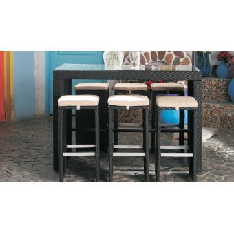 Table de jardin haute et 6 tabourets en résine tressée - Mobilier de ...