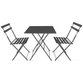 Table bistrot de jardin et 2 chaises pliantes mobilier - Salon de jardin bistrot pas cher ...