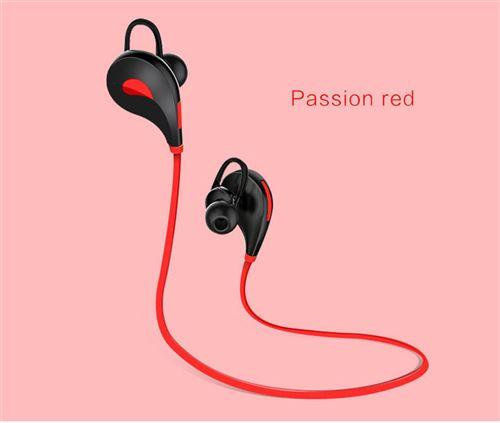 Ecouteurs Bluetooth Sport pour SAMSUNG Galaxy Note 8 Smartphone Sans Fil Bouton Son Kit Main Libre INTRA AURICULAIRE Universel (ROUGE)