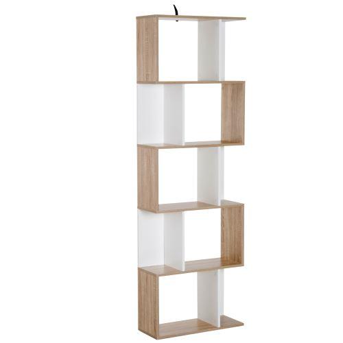 Bibliothèque étagère meuble de rangement design contemporain en S 5 étagères 60L x 24l x 185H cm coloris chêne blanc