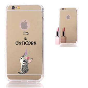 Coque miroir iphone 5 5s se chat licorne cat cute kawaii fleur caticorn gold dore or