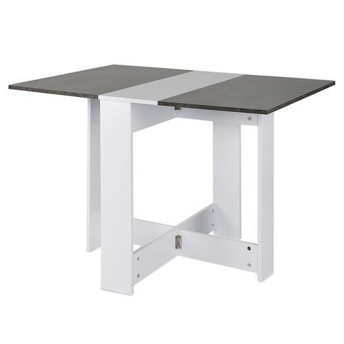 Hawoola Table pliante de Style scandinave en Carte PB de niveau E1 avec Béton 103*76*73.4cm- blanc