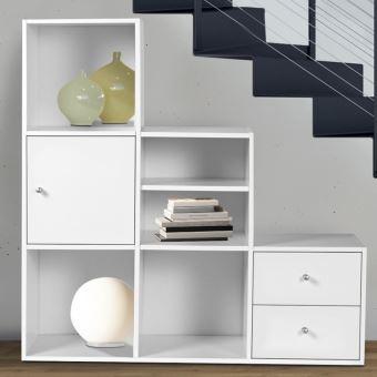 20 sur meuble de rangement escalier 3 niveaux bois blanc avec porte et tiroirs achat prix - Meuble ikea casse ...